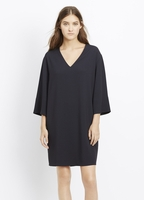 Vince Textured Crepe Three-Quarter Sleeve Shift Dress