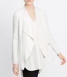 Vince White Ribbed Sleeve Drape Front Jacket - 7.10