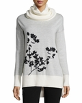 White Ahiga Shadow Branches Cowl-neck Sweater - 9.12