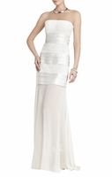 White Shadie Strapless Blockedlace Gown