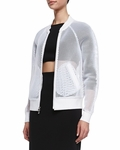 White Sheer Mesh Bomber Jacket