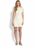 White Trixy Crochet Lace Dress Ivory