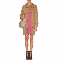 WOOL COAT WITH HOODIE AND BOW