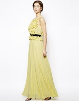 Yellow Calida Maxi Dress with Ruffle Bodice Detail and Contrast Belt
