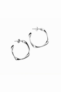 Adina Reyter Medium Four Twist Sterling Silver Hoop Earrings