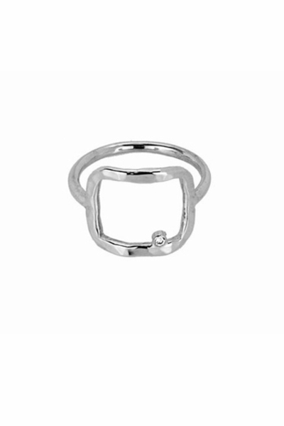 Adina Reyter Square Sterling Silver Ring with Diamond