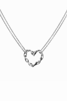 Adina Reyter Tiny Heart Twist Sterling Silver Necklace