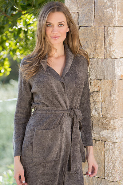Barefoot Dreams Chic Lite Short Ribbed Cocoa Robe