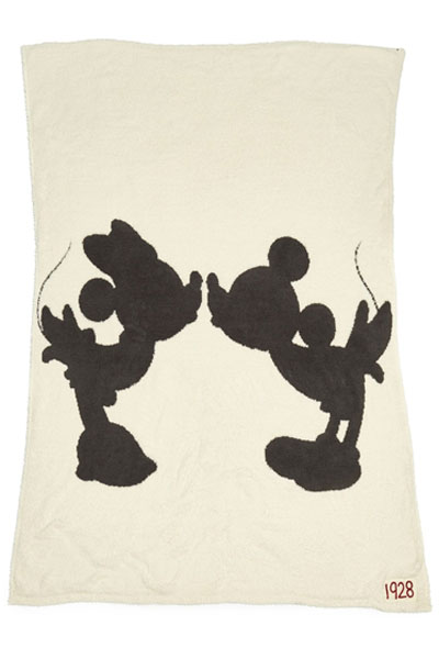 Barefoot Dreams CozyChic Classic Disney Mickey & Minnie Mouse Cream/Carbon Throw