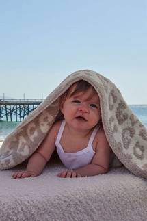 Barefoot Dreams In The Wild Leopard Cream/Stone Baby Blanket