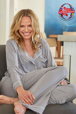 Barefoot Dreams Pewter Luxe Milk Jersey Piped Pajama Set