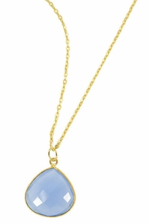 Charlene K Blue Chalcedony Gemstone Pendant Necklace