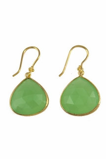 Charlene K Green Chalcedony Gemstone Earrings