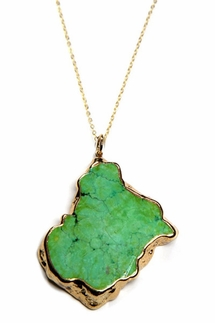 Charlene K Green Turquoise Pendant Necklace