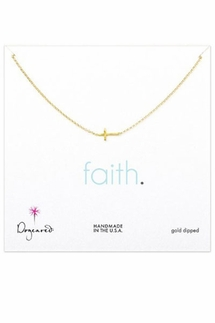 Dogeared Faith Gold Sideways Cross Pendant Necklace