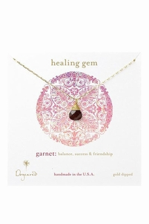 Dogeared Healing Gem Briolette Garnet Gold Necklace