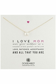 Dogeared I Love Mom Gold Pearl Necklace