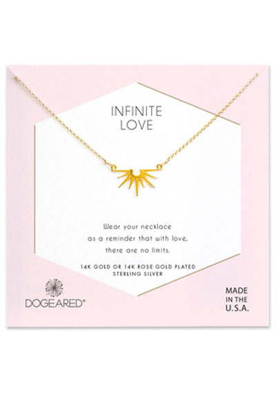Dogeared Infinite Love Radiant Rays Gold Charm Necklace