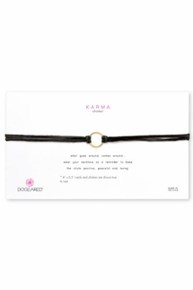 Dogeared Karma Black Leather Choker