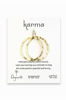 Dogeared Karma Small Gold Textured Hoop Earrings