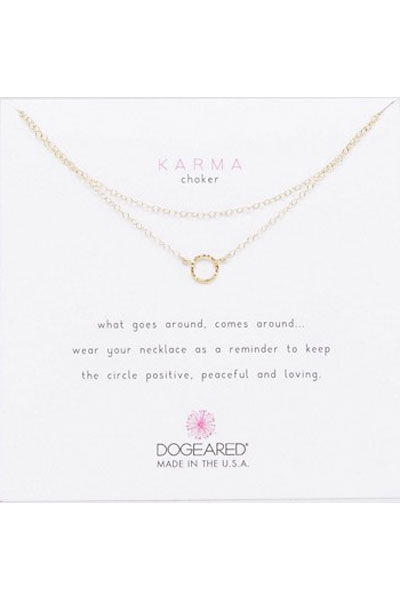 Dogeared Karma Tiny Sparkle Ring Double Gold Chain Choker