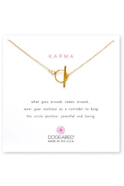 Dogeared Karma Toggle Gold Necklace