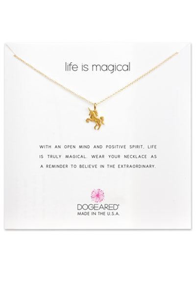 Dogeared Life is Magical Unicorn Gold Necklace