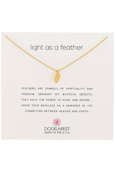 Dogeared Light As A Feather Gold Necklace