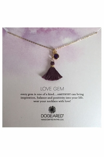 Dogeared Love Gem Round Amethyst Bezel With Plum Tassel Necklace