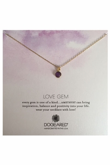 Dogeared Love Gem Round Bezel Amethyst Necklace
