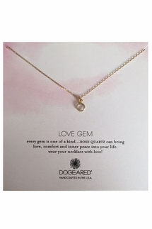 Dogeared Love Gem Round Bezel Rose Quartz Necklace