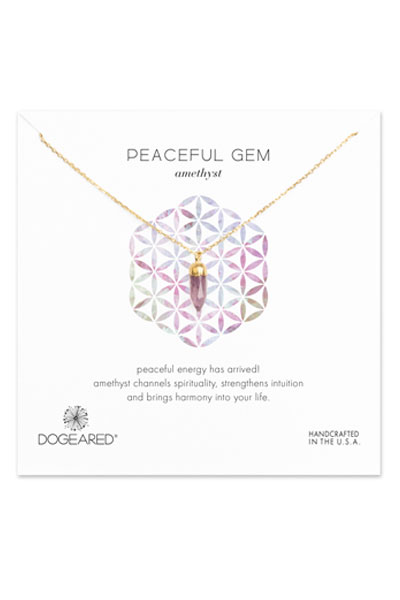 Dogeared Peaceful Amethyst Gold Spear Necklace