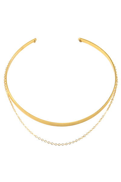 Dogeared Plain Gold Collar with Draped Chain Choker