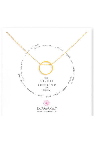 Dogeared The Circle Open Sliding Gold Ring Necklace