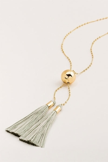 Gorjana Carmen Tassel Adjustable Lariat Sage Necklace
