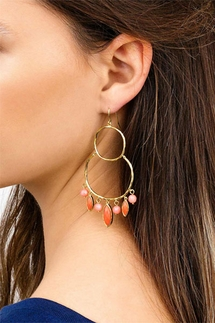 Gorjana Eliza Pink Coral Gemstone Chandelier Earrings