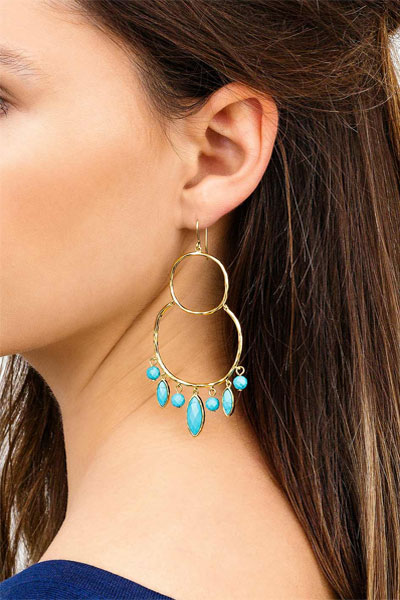Gorjana Eliza Turquoise Gemstone Chandelier Earrings