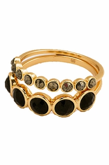 Gorjana Gypset Black/Onyx/Pyrite Gemstone Ring Set