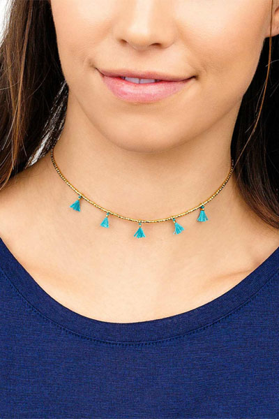 Gorjana Playa Beaded Teal Tassel Choker