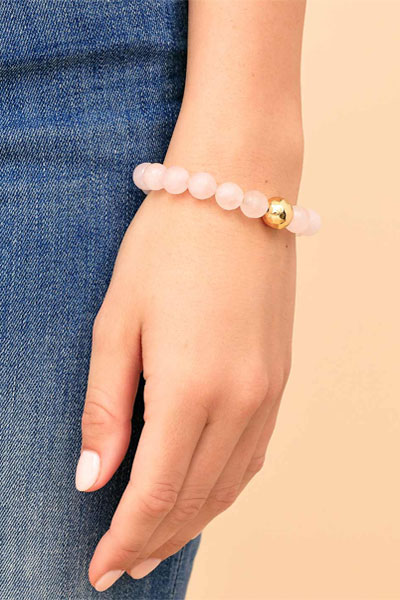 Gorjana Power Gemstone Rose Quartz Statement Bracelet