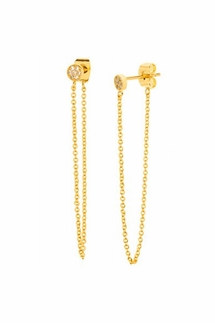 Gorjana Pristine Mini Chain Loop Gold Studs