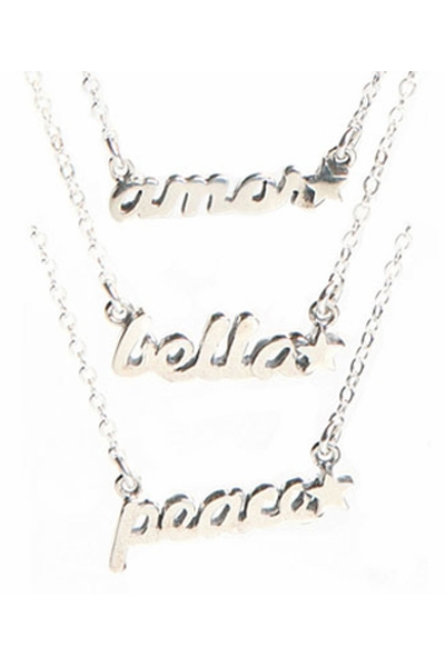 Jessica Elliot Word Silver Necklace