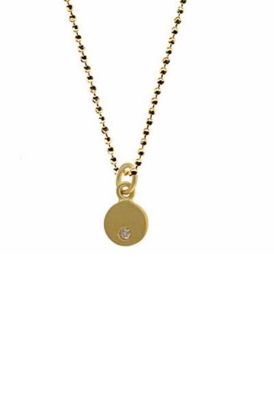 Maya Brenner Mini Circle Pendant Necklace with Diamond