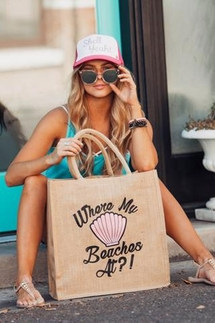 Mother Trucker Where My Beaches At Tote Bag