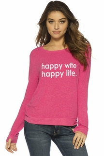 Peace Love World Happy Wife Happy Life Pink Oversized Comfy Top