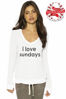 Peace Love World I Love Sundays White Oversized Comfy Top