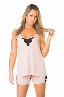 PJ Luxe by PJ Salvage Blush Tank and Short Pajama Set