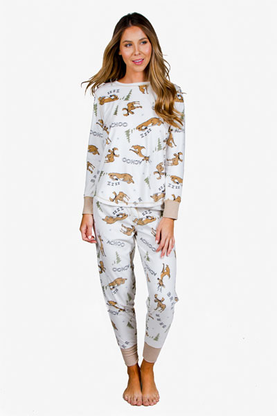 PJ Salvage Achoo Moose Long Sleeve Top and Pant Pajama Set