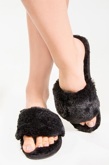 PJ Salvage Black Fur Slippers