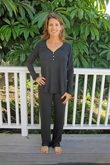 PJ Salvage Black Top and Pant Loungewear Set